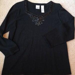 Emma James XL black poly/cotton beaded sweater